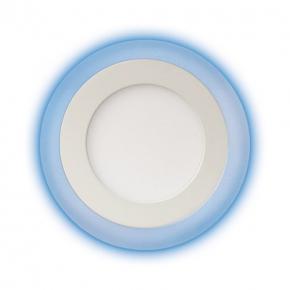 Plafony - oprawa sufitowa led z niebieskim podświetleniem 6w+3w alden led c 02899 ideus