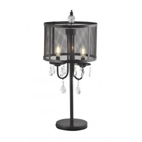 Lampki-nocne - lampka stołowa czarna z wiszącymi kryształami 3x12w e14 il mio bresso polux