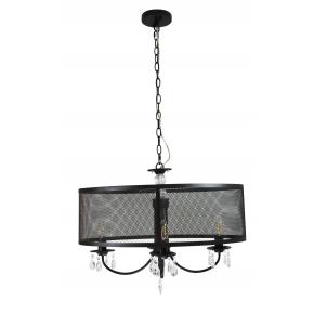 Lampy-sufitowe - lampa wisząca sufitowa w kształcie elipsy z kryształkami czarna 4x12w e14 il mio bresso 4 polux