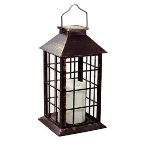 Latarenki-ogrodowe - lampa solarna na balkon latarenka patynowa 27cm  polux