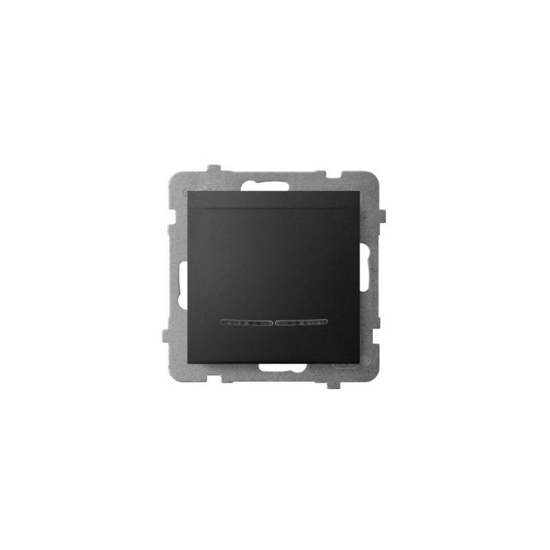 Wlaczniki-hotelowe - wyłącznik hotelowy z podświetleniem pomarańczowym czarny metalik łp-15us/m/33 aria ospel firmy OSPEL