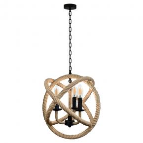 Lampy-sufitowe - wisząca lampa sufitowa czarny/beżowy 3x10w e14 il mio rope globo polux