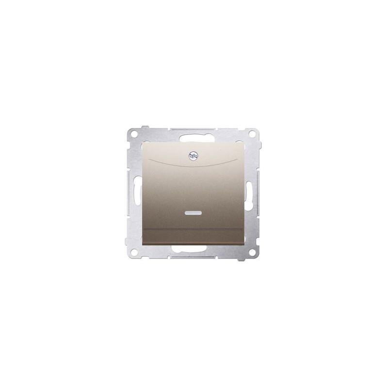 Wlaczniki-hotelowe - włącznik hotelowy podwójny z podświetleniem złoty mat dwh2.01/44 simon 54  kontakt-simon firmy Kontakt-Simon