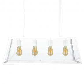 Lampy-sufitowe - wisząca lampa w industrialnym stylu biała 4x20w e27 il mio finland b polux