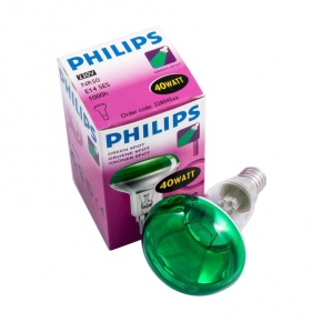 Zarowki-tradycyjne - żarówka reflektorowa philips zielona r50 40w e14