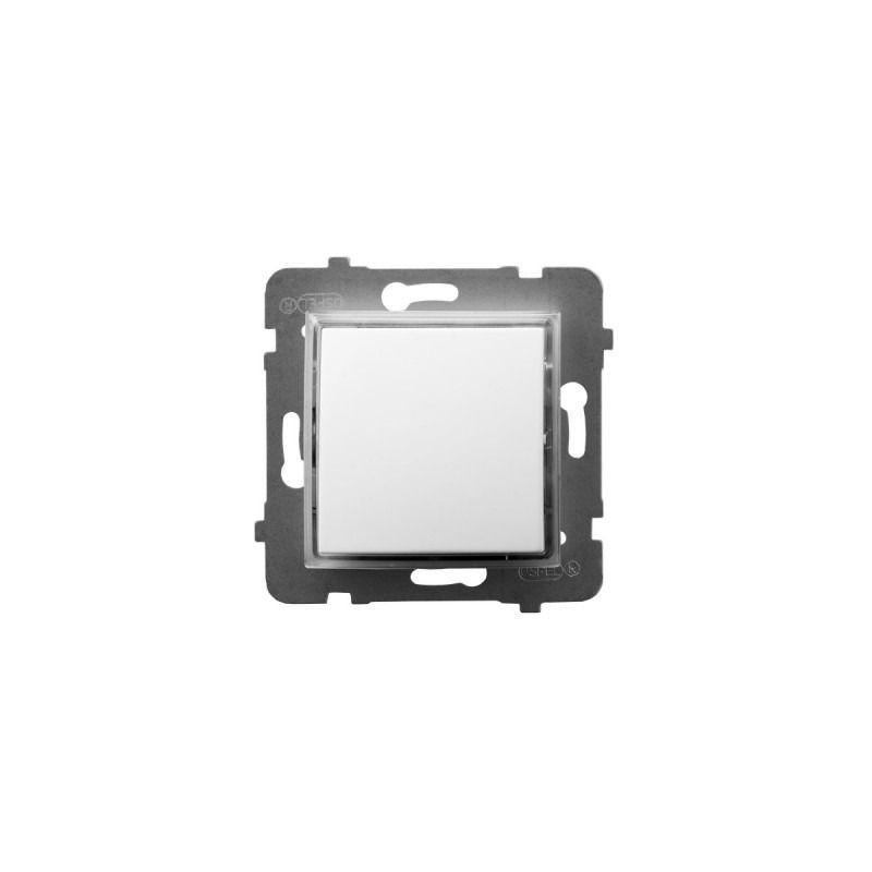 Wylaczniki-jednobiegunowe - włącznik pojedynczy kontrolny z podświetleniem pomarańczowym biały łp-12us/m/00 aria ospel firmy OSPEL