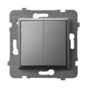 Wyłącznik zwierny podwójny szary mat ŁP-17U/m/70 ARIA OSPEL