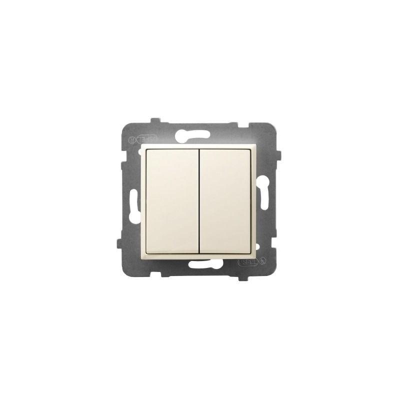 Wylaczniki-typu-swiatlo-zwierne - włącznik podwójny zwierny ecru łp-17u/m/27 aria ospel firmy OSPEL