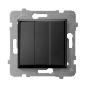 Włącznik do światła potrójny czarny metalik ŁP-13U/m/33 ARIA OSPEL