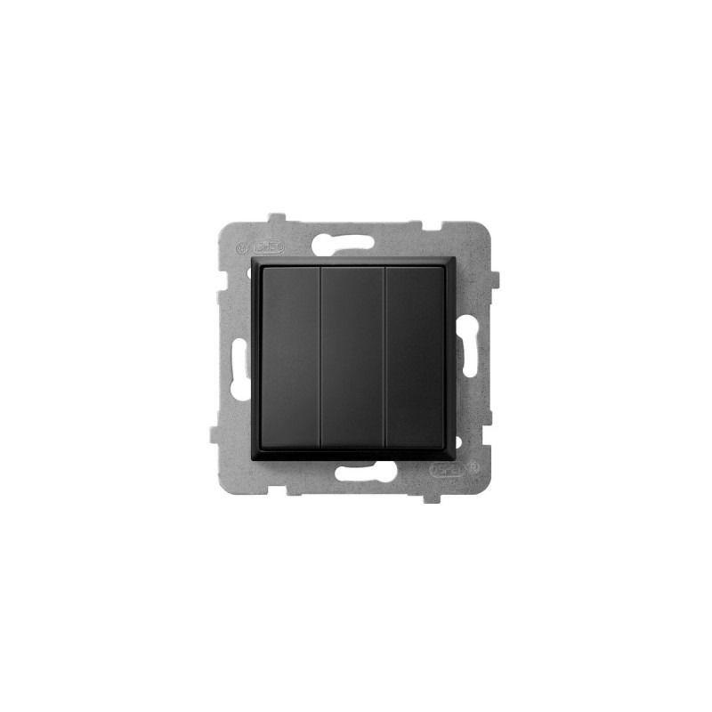 Wylaczniki-potrojne - włącznik do światła potrójny czarny metalik łp-13u/m/33 aria ospel firmy OSPEL