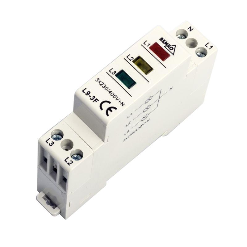 Lampki-kontrolne - lampka sygnalizacyjna - kontrolka trójfazowa 3 kolory l9-3f bemko firmy BEMKO