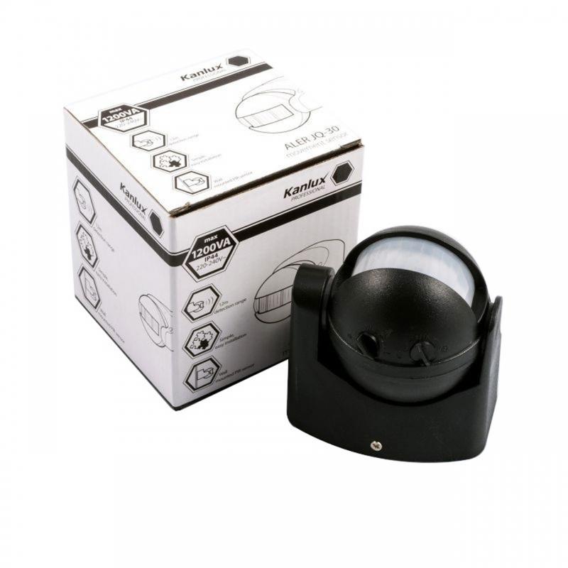 Czujniki-ruchu - czujnik ruchu na ścianę czarny aler jq-30-b kanlux 00461 firmy KANLUX