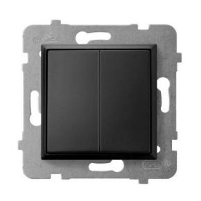 Włącznik schodowy podwójny czarny metalik ŁP-10U/m/33 ARIA OSPEL