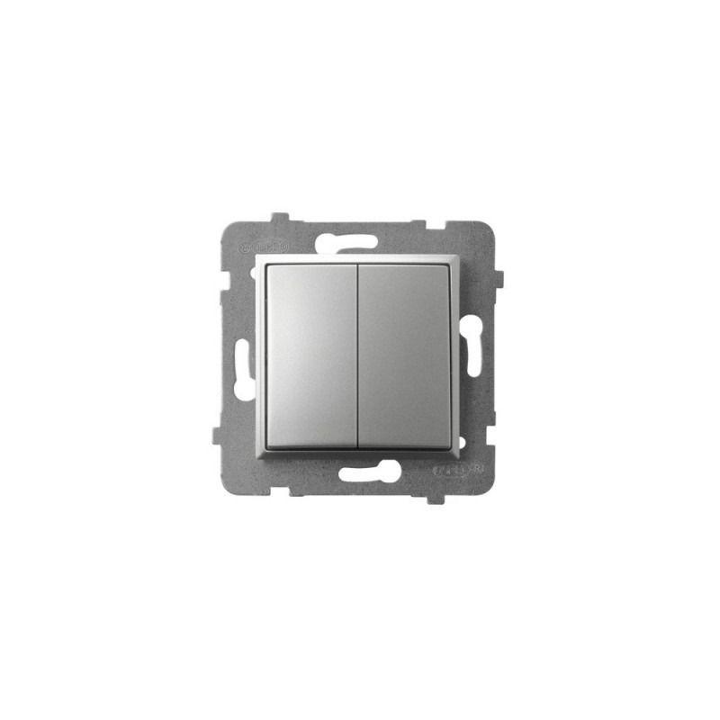 Wylaczniki-schodowe - włącznik schodowy+jednobiegunowy srebrny łp-9u/m/18 aria ospel firmy OSPEL