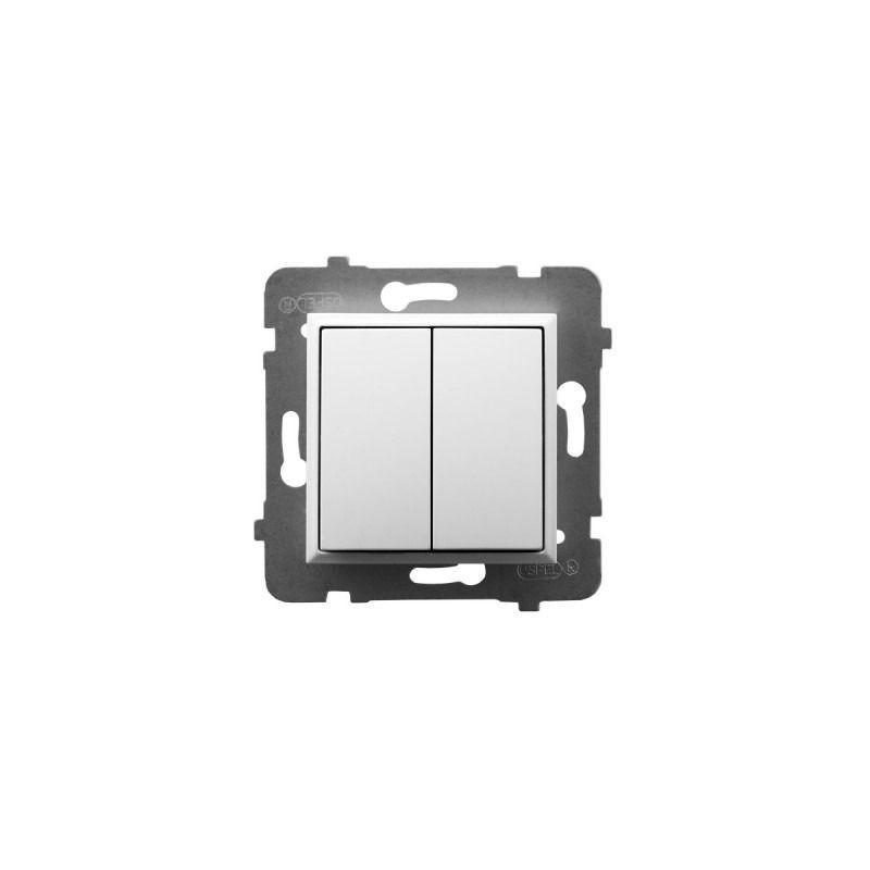Wylaczniki-schodowe - włącznik schodowy+jednobiegunowy biały łp-9u/m/00 aria ospel firmy OSPEL