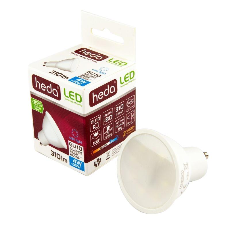 Gwint-trzonek-gu10 - żarówka ledowa z trzonkiem gu10 zimne światło 4w-30w 310 lm 6000k hd221 heda firmy HEDA
