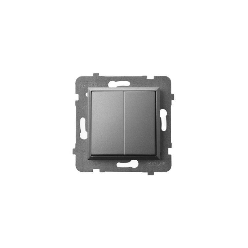Wylaczniki-podwojne - wyłącznik świecznikowy podwójny szary mat łp-2u/m/70 aria ospel firmy OSPEL