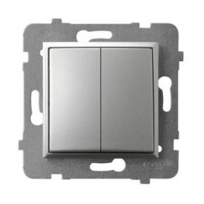 Włącznik podwójny srebrny ŁP-2U/m/18 ARIA OSPEL