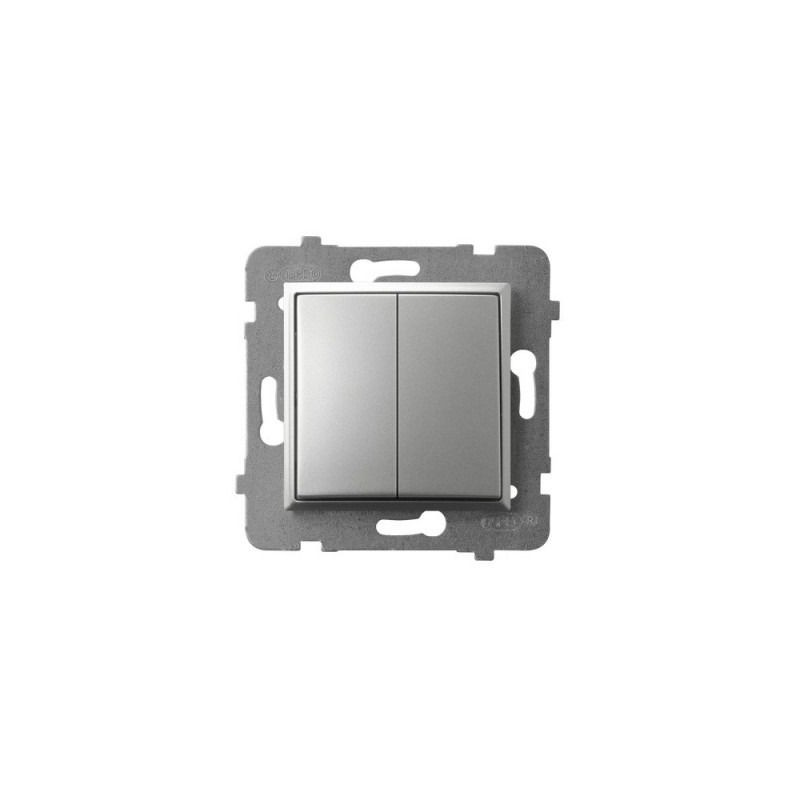 Wylaczniki-podwojne - włącznik podwójny srebrny łp-2u/m/18 aria ospel firmy OSPEL
