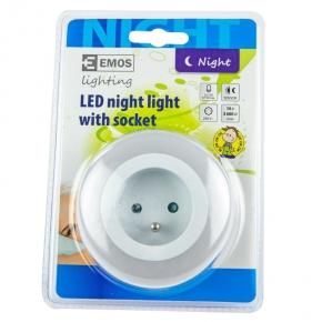 Lampki-do-kontaktu - lampka nocna z gniazdem z/u p3307 230v 0,63w 3xled śr.5mm czujnik zmierzchu emos