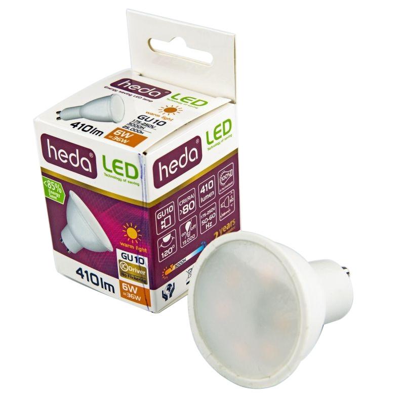 Gwint-trzonek-gu10 - żarówka gu10 led biała ciepła 6 watowa  odpowiednik 36w 410lm 120° 3000k heda hd230 firmy HEDA