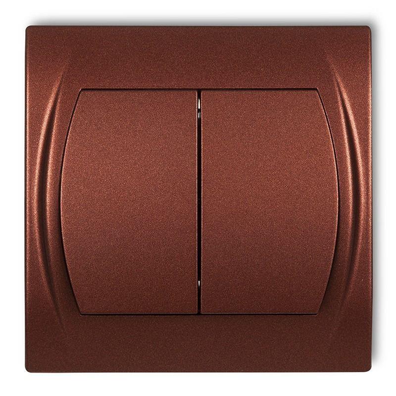 Wylaczniki-podwojne - włącznik świecznikowy brązowy metalik 9lwp-2 logo karlik firmy Karlik