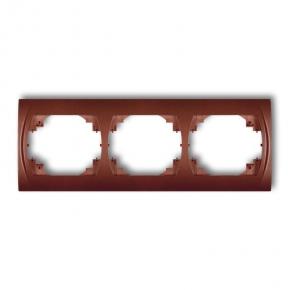 Ramki-potrojne - ramka potrójna pozioma brązowy metalik 9lrh-3 logo karlik