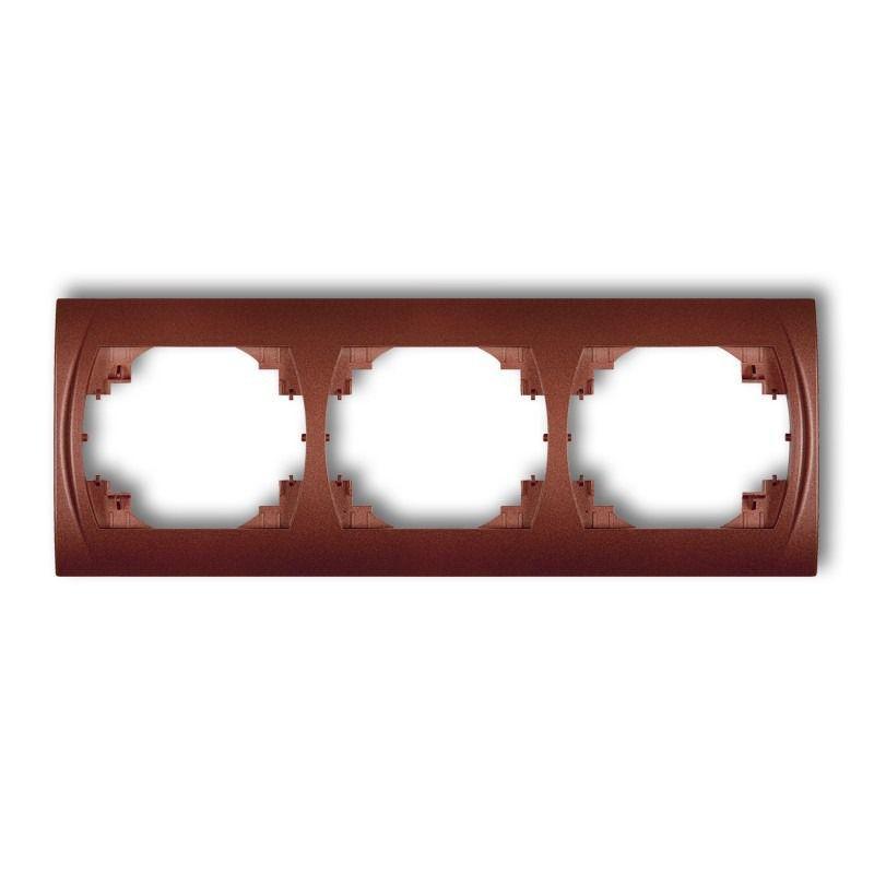 Ramki-potrojne - ramka potrójna pozioma brązowy metalik 9lrh-3 logo karlik firmy Karlik