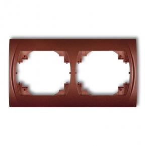 Ramka podwójna pozioma brązowy metalik 9LRH-2 LOGO KARLIK