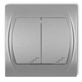 Wyłącznik schodowy podwójny srebrny metalik 7LWP-33 LOGO KARLIK