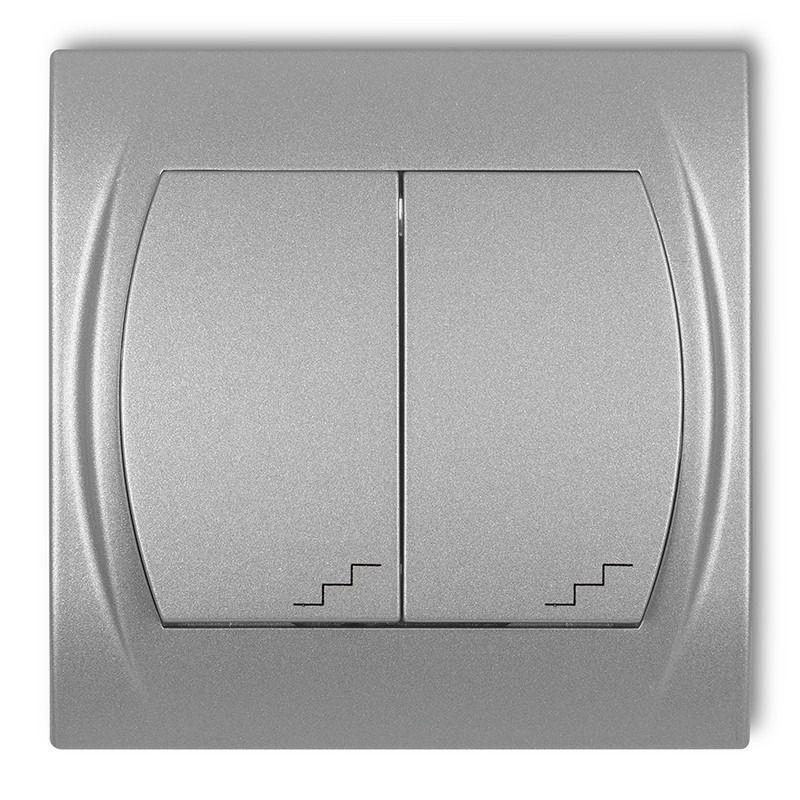 Wylaczniki-schodowe - wyłącznik schodowy podwójny srebrny metalik 7lwp-33 logo karlik firmy Karlik
