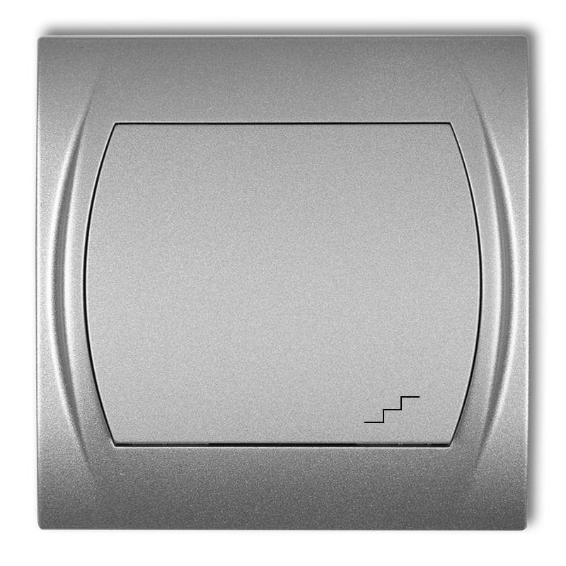 Wylaczniki-schodowe - włącznik schodowy srebrny metalik 7lwp-3 logo karlik firmy Karlik