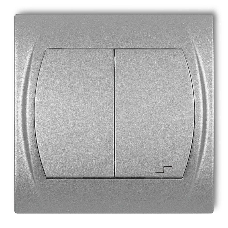 Wylaczniki-schodowe - włącznik jednobiegunowy+schodowy srebrny metalik 7lwp-10 logo karlik firmy Karlik