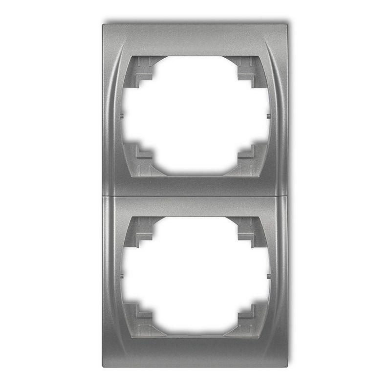 Ramki-podwojne - ramka podwójna pionowa srebrny metalik 7lrv-2 logo karlik firmy Karlik