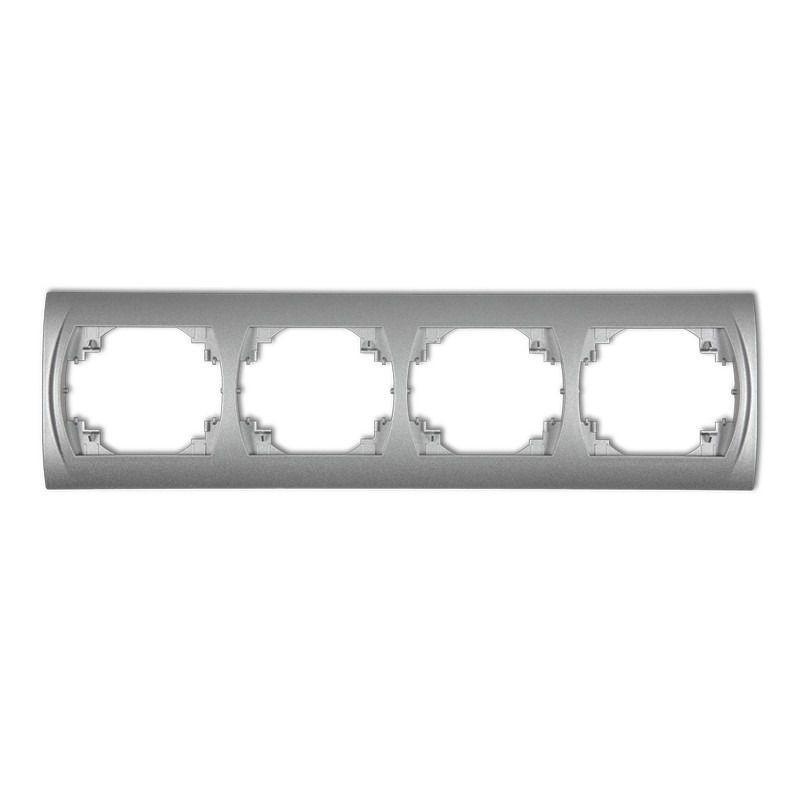 Ramki-poczworne - ramka poczwórna srebrny metalik 7lrh-4 logo karlik firmy Karlik