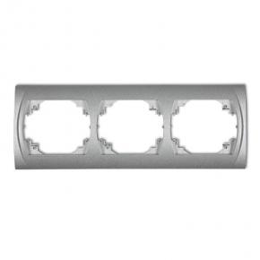 Ramki-potrojne - ramka potrójna pozioma srebrny metalik 7lrh-3 logo karlik