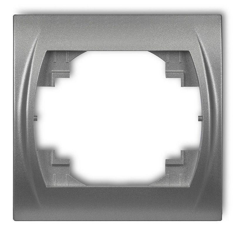 Ramki-pojedyncze - ramka pojedyncza srebrny metalik 7lrh-1 logo karlik firmy Karlik