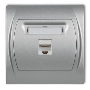 Gniazda-komputerowe - gniazdo komputerowe pojedyncze srebrny metalik 7lgk-1 logo karlik