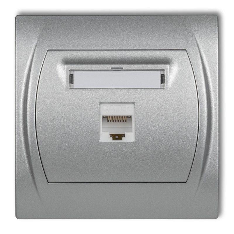 Gniazda-komputerowe - gniazdo komputerowe pojedyncze srebrny metalik 7lgk-1 logo karlik firmy Karlik