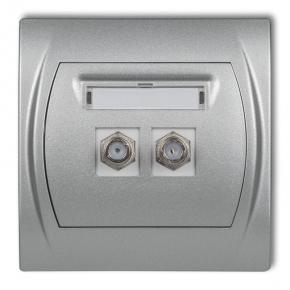 Gniazda-antenowe - gniazdo antenowe podwójne typu f (sat) srebrny metalik 7lgf-2 logo karlik