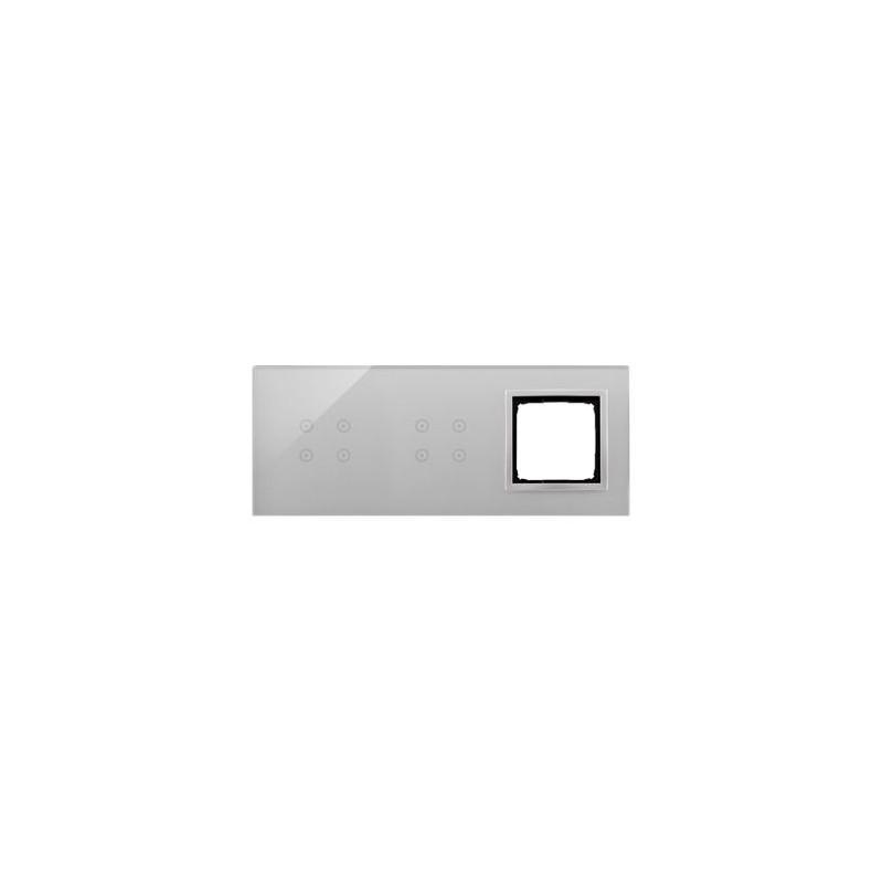 Panele-dotykowe - panel dotykowy 4+4 pola dotykowe+1 otwór na osprzęt srebrna mgła dstr3440/71 simon 54 touch kontakt simon firmy Kontakt-Simon