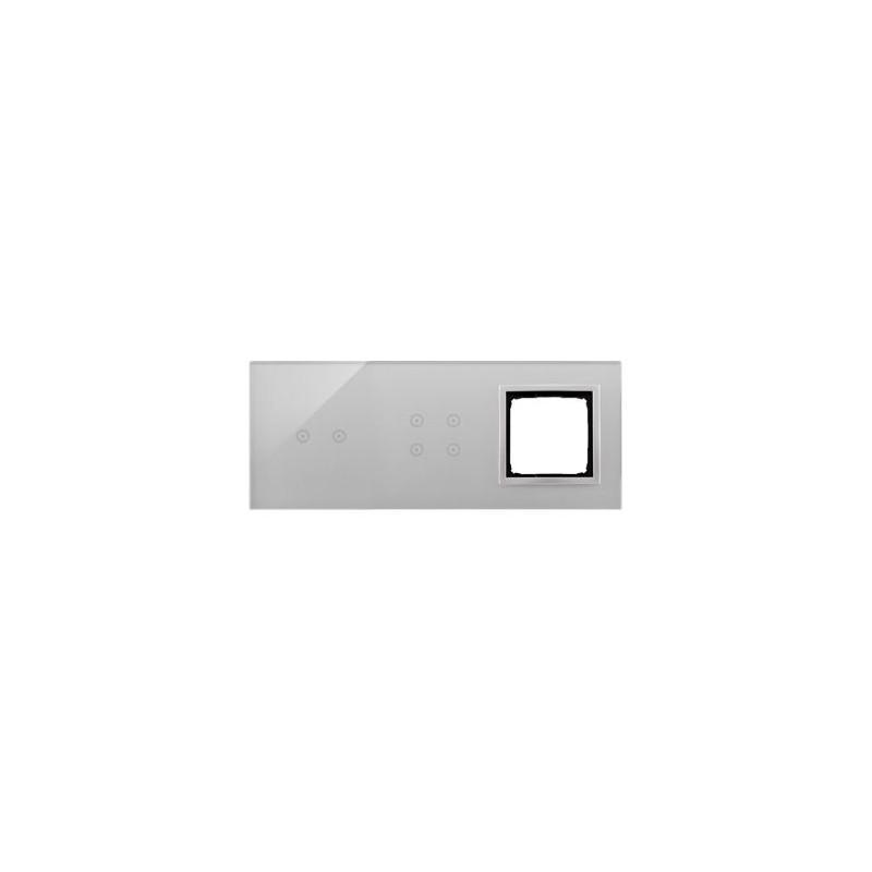 Panele-dotykowe - panel dotykowy 2 pola poziome 4 pola dotykowe+1 otwór na osprzęt srebrna mgła dstr3240/71 simon 54 touch kontakt simon firmy Kontakt-Simon