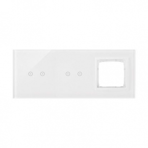 Panele-dotykowe - panel dotykowy 2+2 pola dotykowe poziome+1 otwór na osprzęt biała perła dstr3220/70 simon 54 touch kontakt simon