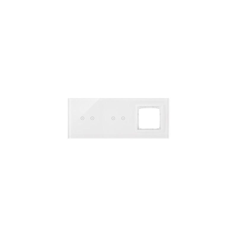 Panele-dotykowe - panel dotykowy 2+2 pola dotykowe poziome+1 otwór na osprzęt biała perła dstr3220/70 simon 54 touch kontakt simon firmy Kontakt-Simon