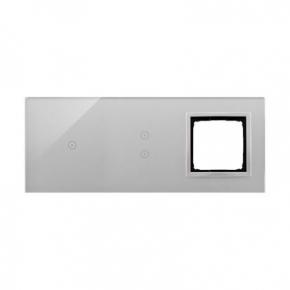 Panele-dotykowe - panel dotykowy potrójny z otworem na osprzęt srebrna mgła dstr3130/71 simon 54 touch kontakt simon
