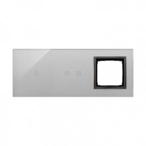 Panele-dotykowe - panel dotykowy potrójny szklany z otworem na osprzęt burzowa chmura dstr3120/72 simon 54 touch kontakt simon