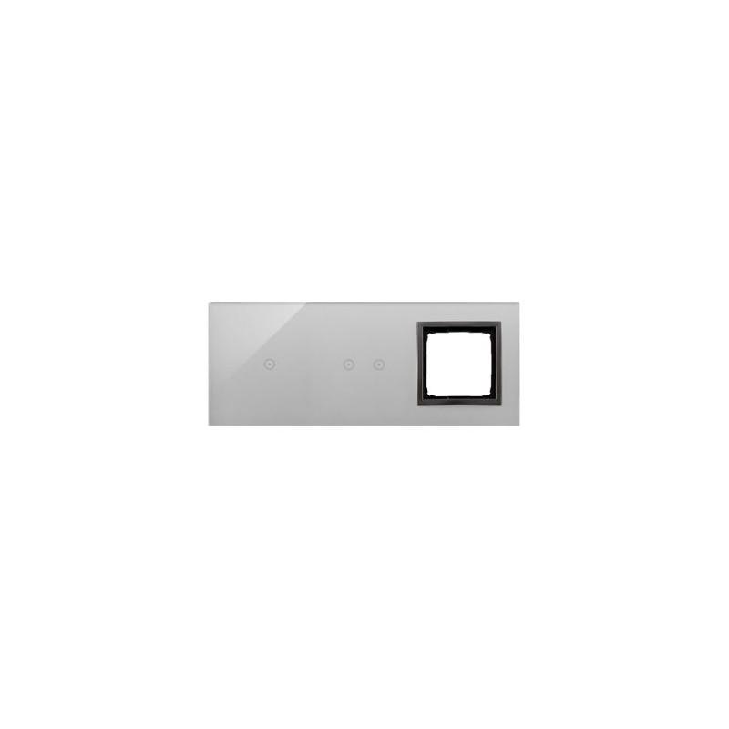 Panele-dotykowe - panel dotykowy potrójny szklany z otworem na osprzęt burzowa chmura dstr3120/72 simon 54 touch kontakt simon firmy Kontakt-Simon