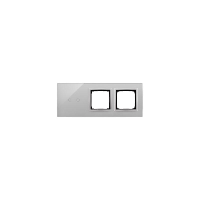 Panele-dotykowe - panel dotykowy 2 pola dotykowe poziome+2 otwory na osprzęty srebrna mgła dstr3200/71 simon 54 touch kontakt simon firmy Kontakt-Simon