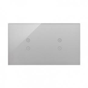 Panele-dotykowe - panel dotykowy 2+2 pola dotykowe pionowe srebrna mgła dstr233/71 simon 54 touch kontakt simon