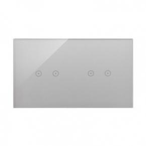 Panele-dotykowe - panel dotykowy 2+2 pola dotykowe poziome srebrna mgła dstr222/71 simon 54 touch kontakt simon
